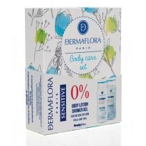 Dermaflora 0% díszdoboz tusfürdő 250ml + testápoló 250ml sensitive